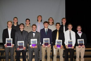 Picture of the senior members of the boys soccer team.