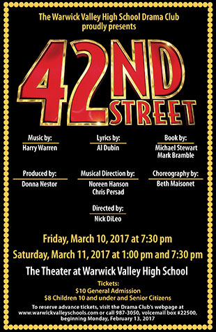 "Box Office now open for HS musical ""42nd Street"" on March 10 & 11"