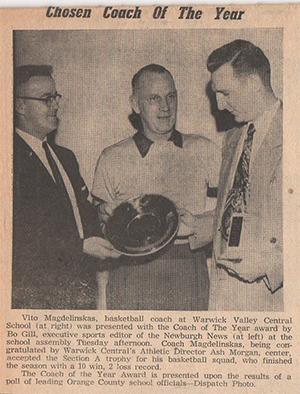 old newspaper photo of Coach Magdelinskas