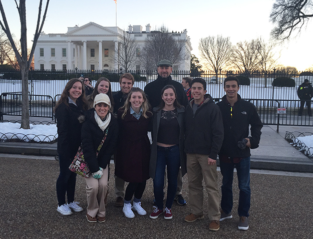 WVHS Student Senate members with teacher Gene Burns in Washington, DC