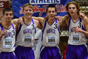 Picture of four male athletes. The Warwick 4x800 meter boys relay team.