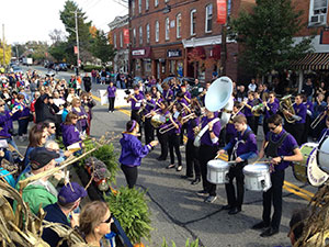 the high school band performing during the 2015-16 homecoming parade