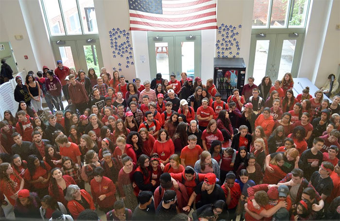 photo of WVHS students dressed in red and black