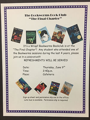 Photo of flyer for book club
