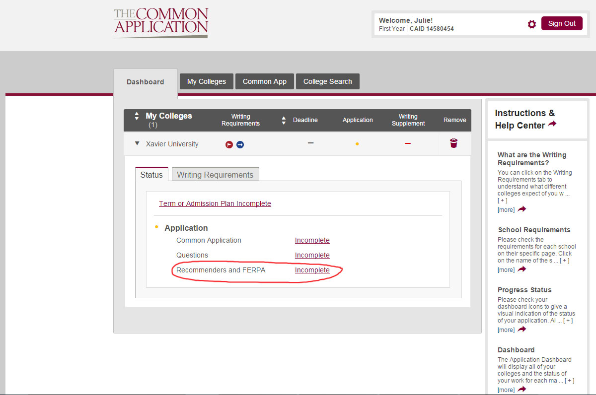 image of page from Common App showing status of FERPA waiver