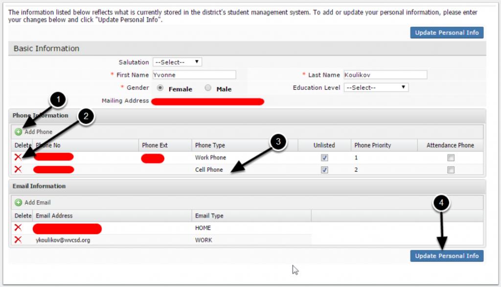Parent Portal screenshot of Personal Info dashboard