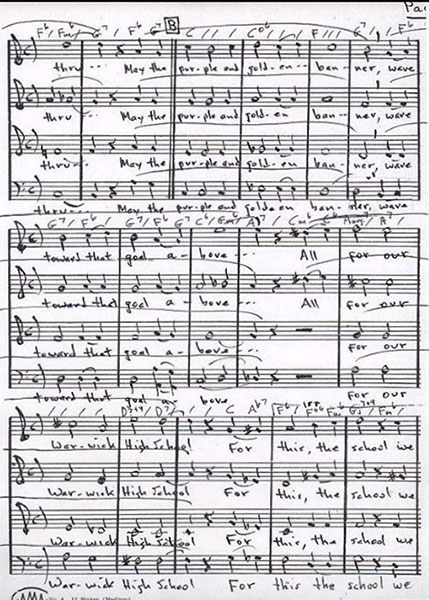 Sheet music for Alma mater, or school song. Page 2 of 4.