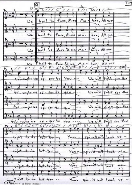 Sheet music for Alma mater, or school song. Page 3 of 4.