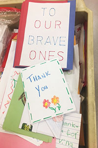 Elementary students with holiday donations