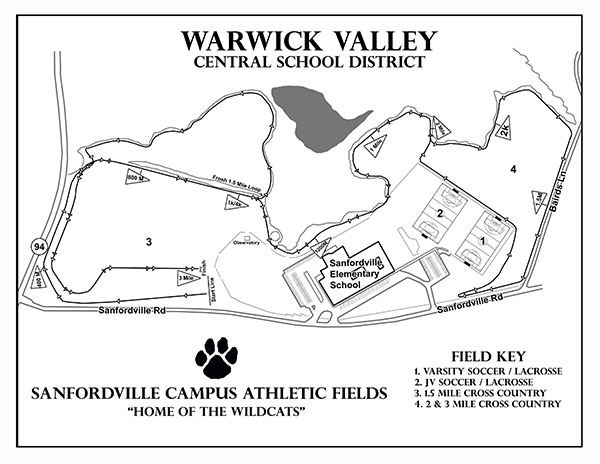 Map of athletic fields at Sanfordville