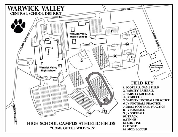 Map of athletic fields at the HS/MS complex