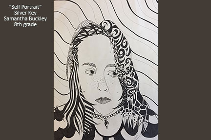 student self portrait in pen and ink