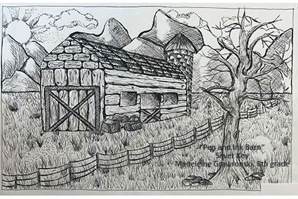 pen and ink drawing of a barn