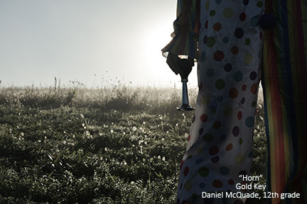 student photograph of a clown in a field