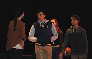 student acts out scene