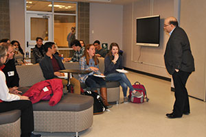 WVHS alum TJ Asprea speaks with WVHS students