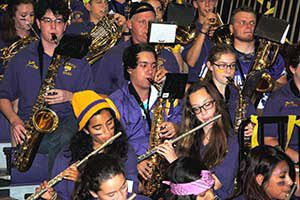 The high school band is a staple of school-wide events.