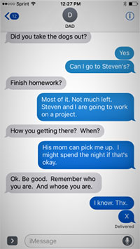 screen shot of text messages on a cell phone