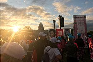sunrise before the walk in Washington DC