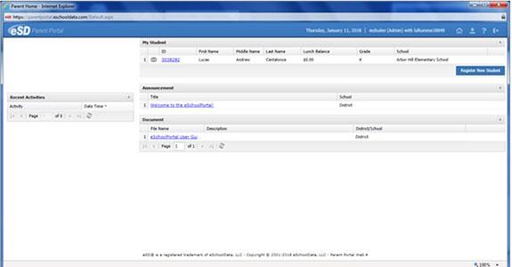 Screenshot image for online student registration