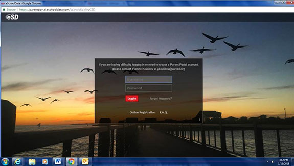 Screen shot image of WVCSD Parent Portal
