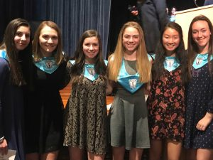 six high school girls with NHS shawls