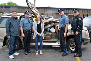 WVHS Mock Crash - SADD President and Warwick Police officers