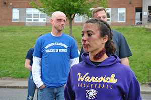 WVHS Mock Crash - students & faculty members played the injured