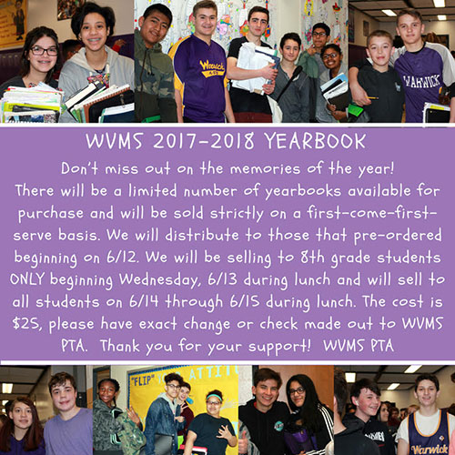 WVMS Yearbook sales information