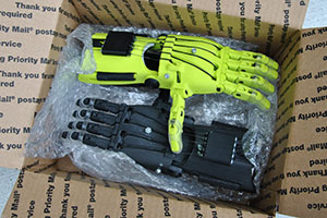 The prosthetic hands ready to be mailed