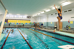 Girl diver diving into WVHS pool