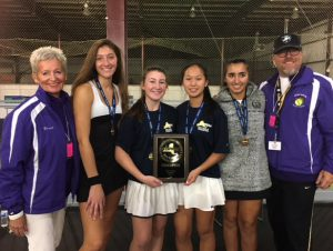 Two cpaches and four tennis players pose with an award