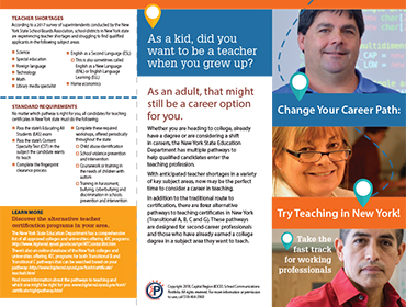 Teacher recruiting brochure which includes photo of WVHS teacher, Mr. E. Avila