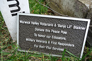 Plaque with Peace Pole at SES