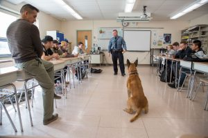a police officer and his canine visit the criminal justice class