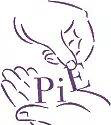 A line sketch of two hands holding the letters P I E