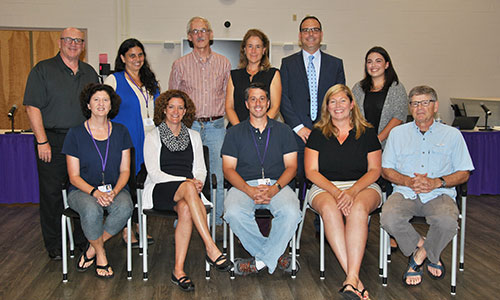 Group photo of BOE with Superintendent and student member
