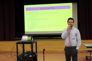 Administrator speaking to students during Park Avenue's visit to Middle School