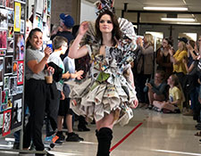 Newspaper dress at the WVCSD STEAM Fair 2019