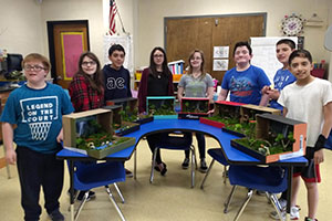 MS Gold team students created rainforest dioramas