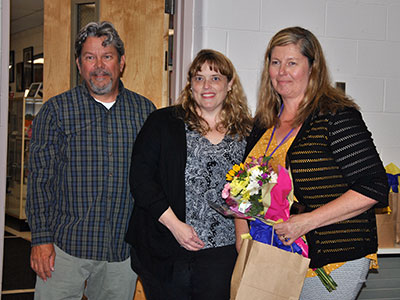 "At the presentation of the 2019 ""Jodi Denmead Outstanding Parent Volunteer Award,"" from left: Don Denmead; PTA Council President, Melanie Kolacy; and recipient of this year's award, Sharon Davis."