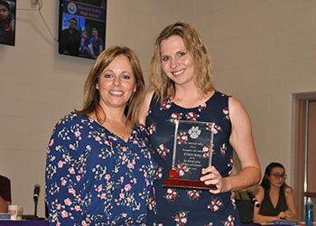 L-R WVHS PTSA President, Laura Kelly presented HS Art Teacher Kristen Spano with an award of appreciation