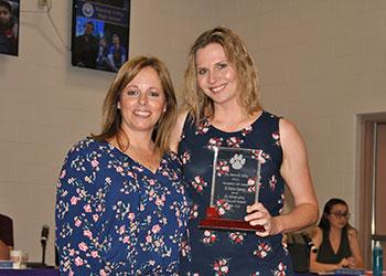 L-R WVHS PTSA President, Laura Kelly presented HS Art Teacher Kristen Spano with an award of appreciation