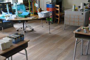 View of new classroom flooring.
