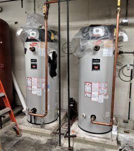 View of gas hot-water heaters.