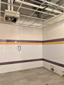 View of a bathroom under construction.
