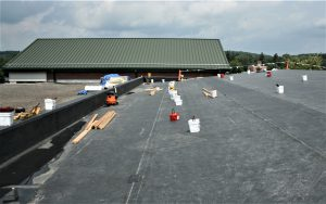 View of ongoing repairs on roof top.