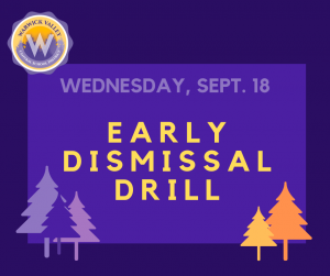 graphic for early dismissal drill announcement