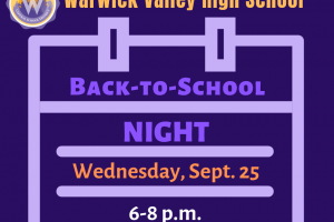 Warwick Valley High School will host Back-to-School Night on Sept. 25