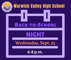 graphic with calendar and date HS of back to school night